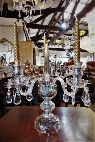 Vintage Czechoslovakian Cut Crystal Table Candelabra Center Piece $595.00