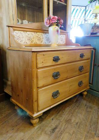 English Pine Tiled Back Wash Stand $1550