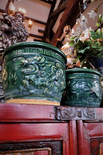 Antique Chinese Majolica Planter Pots - Dragons $225ea