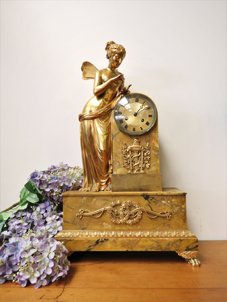 Phenomenal Gilded Bronze & Marble French Clock $6500