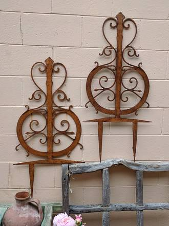Heavy Wrought Iron Garden Stakes - European $750.00 pair