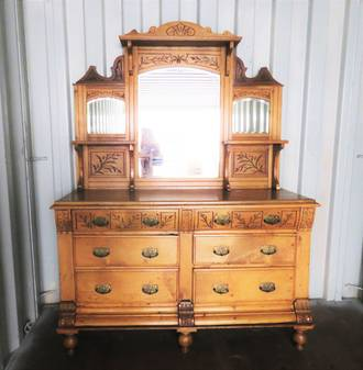Antique Sideboard, Carved and Mirrored $2750