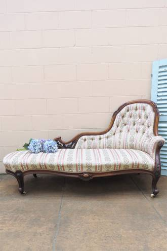 Antique Walnut High Button Back Chaise Lounge $2950