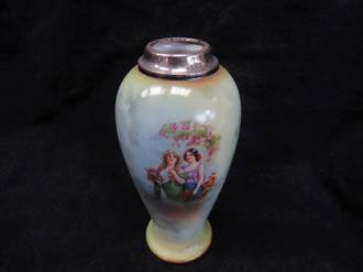 Antique Silver Topped English Porcelain bud Vase