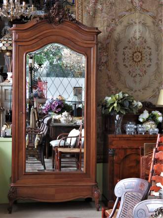 Antique French Walnut Armoire with Fitted Adjustable Shelving & Full Length Mirror SOLD