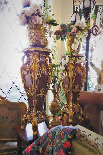 Pair of Elaborate Gilded Rococo Style Jardiniere Stands $2950 pair