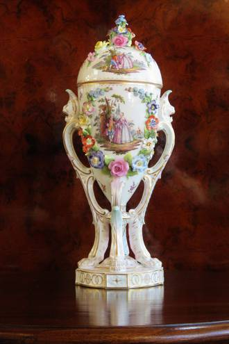 Remarkable Dresden Lidded Urn Encrusted with Painted Flowers SOLD
