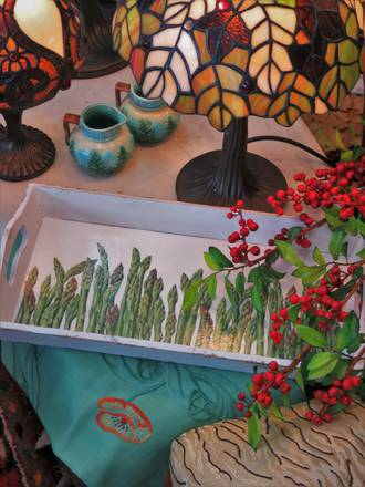 Bespoke Asparagus Decoupage Wooden Tray