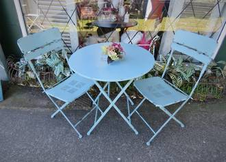 French Style Cafe Set, Collapsible Metal Table & Chairs Aqua $495