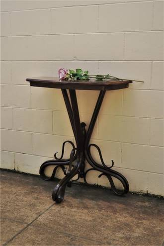 Antique Bentwood Base Mahogany Hall Table - Tall $950