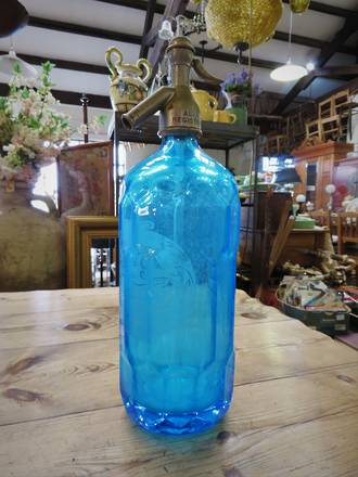 Very Rare Aqua Blue Antique Soda Siphon Bottle ~ Alva ~ New Zealand Made