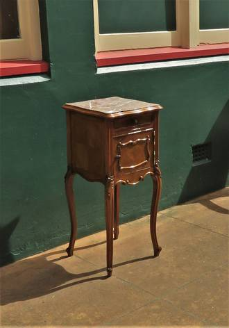 French Antique Bedside Table with Marble Top $950