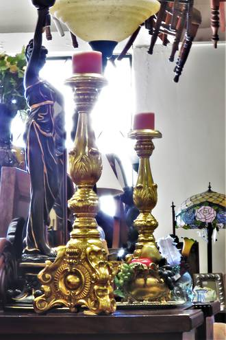 Huge Italian Rococo Style Gold Leaf Candle Sticks Pair