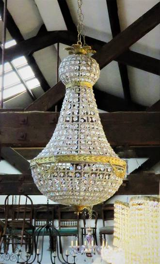French Beaded Basket Chandelier - Gilded - Medium $2500 Large $3950