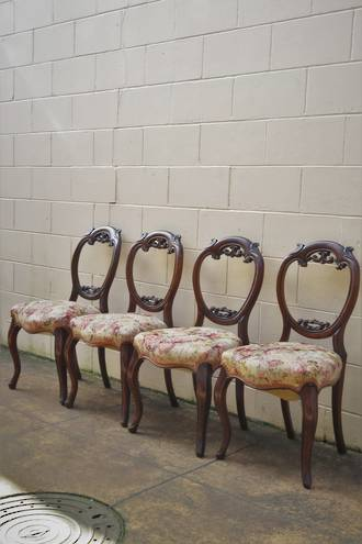 English Rosewood Balloon Back Dining Chairs x 4 $1600.00 set