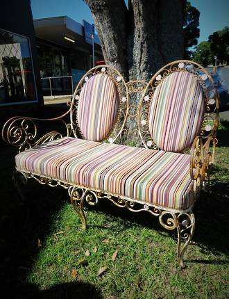 Antique French Wrought Iron Settee, Conservatory Couch $1850.00