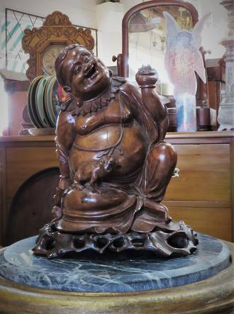 Early Republic Carved Walnut Reclining Laughing Buddha