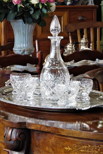 Webb & Corbett Cut Crystal Decanter set (6 Piece) $295.00