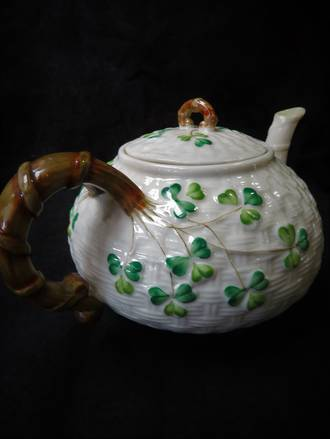 Antique Belleek Teapot, Black Mark Back Stamp