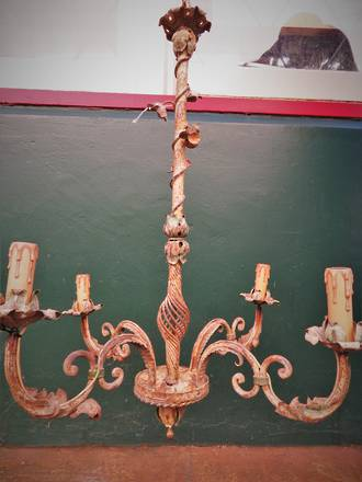 Genuine French Antique Wrought Iron Chandelier $995.00