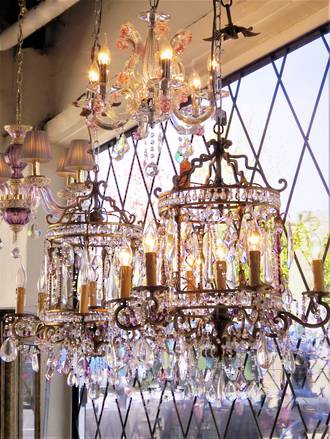 A Spectacular Pair of Vintage French Wrought Iron & Cut Crystal Chandeliers $8000pr