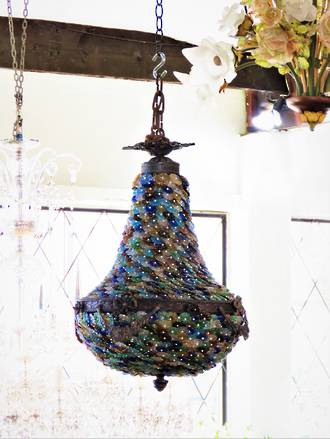 European  Hand-Beaded Tutti-Fruitti Molded Glass & Pearl Basket Chandelier $2950.00