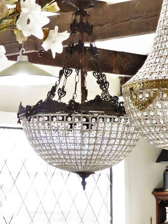 Large Half Basket Pendant Chandelier SOLD