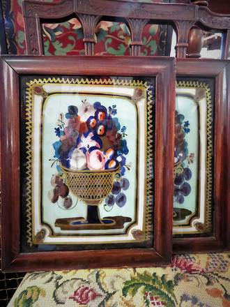 Victorian Hand Painted Reversed Glass Still Life Pair