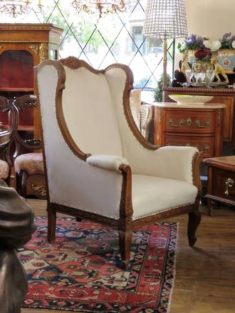 Original French Carved Wing Back Arm Chair $1950.00