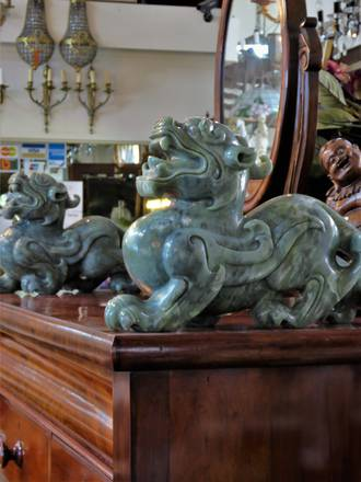 Large Pair of Chinese Carved Jade Chinese Pixiu Guardians of Fortune - Feng Shui Sculptures $3750.00 pair