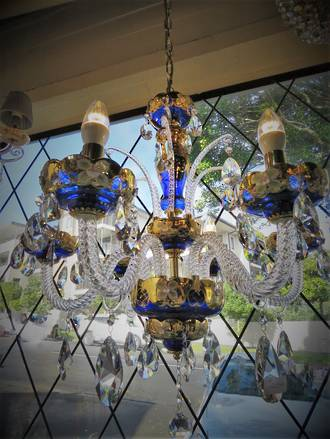 Striking French Blue Crystal Chandelier SOLD