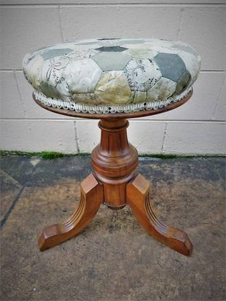 Victorian Walnut Piano Stool with Patchwork Seat $495