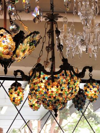 Gothic Style Tutti Frutti Glass Grape Pendant Chandelier medium $3950.00