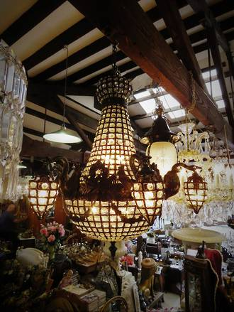 Amazing Large Swan Basket Chandelier With 6 Hanging Basket Arms $5500.00