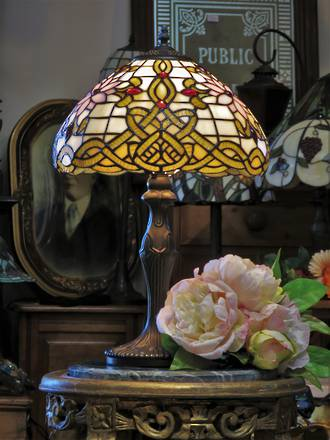 Celtic Art Nouveau Lead-Light Lamp -  Tiffany Style
