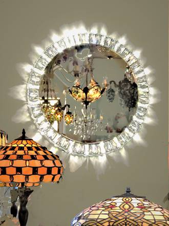 Cut Crystal Illuminated Starburst Mirror - Hollywood Glamour !