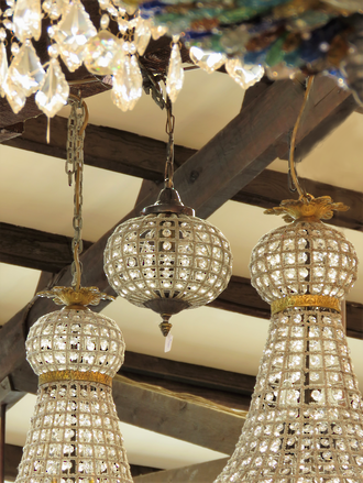 Baby Ball Basket Chandelier $750 each Two in Stock