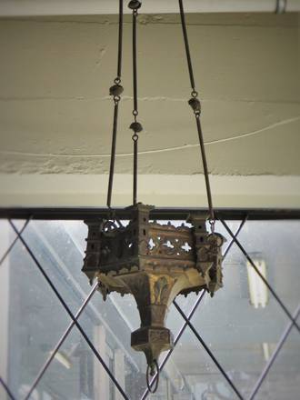 Antique Middle Eastern Hanging Iron Candle Lamp $495