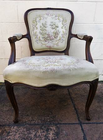 Antique French Chair with original Aubusson Tapestry upholstery $950.00