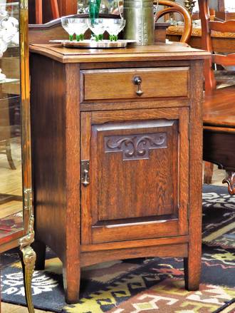 Arts and Crafts Oak Bedside Table or Cupboard $650