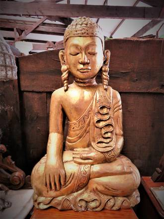 Antique Gilt Carved Wooden Buddha $495.00