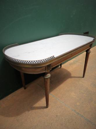 Vintage French Marble Topped Coffee Table $950.00