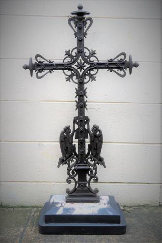 Large Antique Cast Iron Free Standing Crucifix $950.00