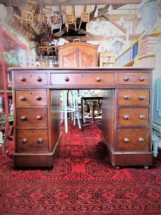 Small Antique Pedestal Desk with Leather top SOLD