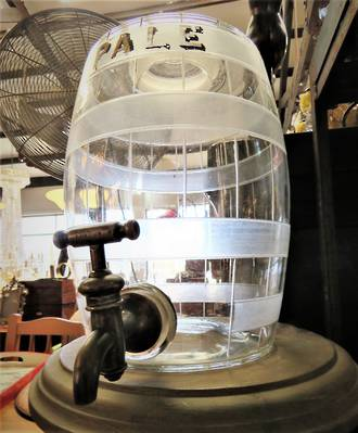 Antique Glass Barrel Pub Ale Dispenser $350