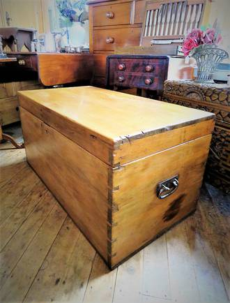 Antique Baltic Pine Blanket Box or Chest $850