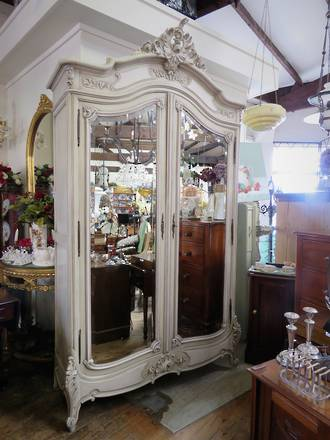 Antique French Provincial Armoire Wardrobe With bevelled Mirrors SOLD
