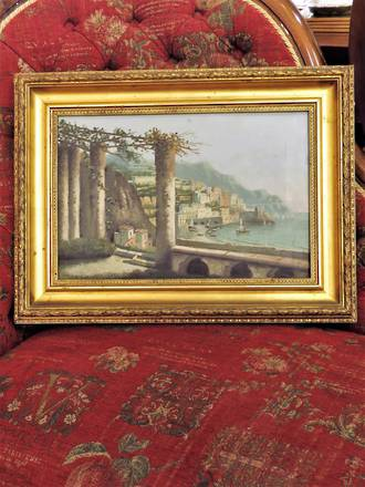 Original Italian Oil Painting on Canvas with Gilded Frame