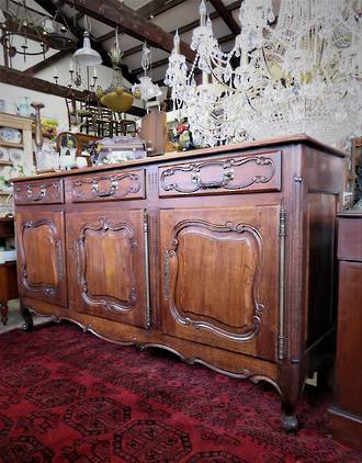 French Antique Oak Sideboard with Parquetry Top $3750