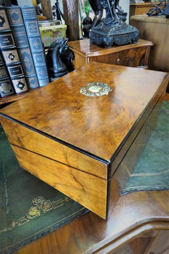 Exquisite Inlaid Writing Slope Document Box with Secret Compartment SOLD